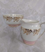 Rosina Bone China, Creamer and Sugar Bowl, Pink and White with Gold Prim... - $30.00