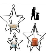 3-D STAR Wrought Iron Candle Stand Holiday Decor Holder in 3 Sizes USA H... - $34.27+