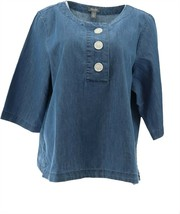 Martha Stewart 3/4-Sleeve Denim Blouse Button Medium Indigo S NEW A366934 - $21.76