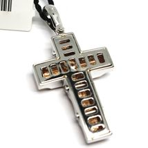 SOLID 18K WHITE & ROSE GOLD CROSS PENDANT BIG 35mm, ROUNDED SQUARES ALTERNATE image 4