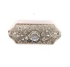14k White Gold Filigree Genuine Natural Moonstone and Diamond Pin (#J4873) - $886.05