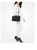 Michael Kors Selma Medium Grommet Quilted Satchel Bag tote, Black Gold NWT  - $206.91