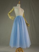 Light Blue Plaid Skirt Women High Waisted Long Plaid Skirt Tulle Skirt image 5
