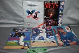 5 New York Mets Baseball 90's Yearbooks And Magazines Scorecard MLB - $39.59