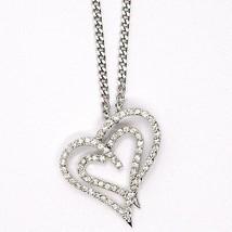 Collar Plata 925 ,Cadena Grumette, Colgante Colgante Corazón Doble, Zirconia image 2