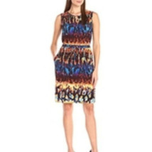 Ellen Tracy Womens Brown Blue Sleeveless Dress Jersey Knit Pockets Sz 6 NWT - $45.53