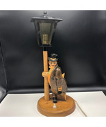 BLACK FOREST LAMP carved figure light post hobo shoes off statue Germany... - $222.75