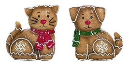 Transpac Gingerbread Puppy and Kitty Brown 6 x 6 Resin Stone Christmas F... - $42.61