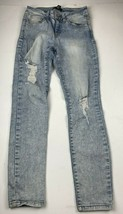 Forever 21 Womens Jeans Sz 27 Skinny Blue Distressed Destroyed Light Wash - $11.97