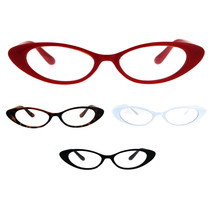 Womens Extra Narrow Goth Retro Cat Eye Plastic Eye Glasses - $9.95