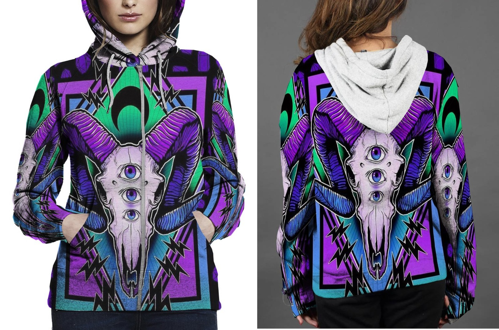 [Brand New For Women] sheep Satanic Zipper Hoodie