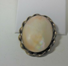 Brass & Mother of Pearl Pin Brooch - $17.81