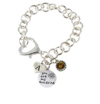 Custom You are My Sunshine Initial Charms Silver Heart Clasp Bracelet Je... - $15.04+