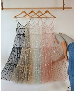 Spaghetti Straps Tulle Long Women's Dresses Fashion Bling Bling Dress - $39.00