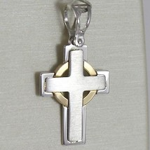 Cross Pendant Yellow Gold White 750 18K, Squared Poster, Made In Italy - $282.95