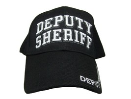 Deputy Sheriff Black With White Letters Police Embroidered Adjustable Cap Hat - $8.88