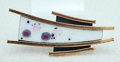 "VTG MATISSE RENOIR Signed RARE White Purple Enamel ""POLARIS"" Pin Brooch"