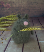 Knitted Field mouse. Woolen handmade grey rat. Interior decoration stuff... - $61.00