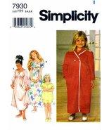 Simplicity 7930 Sewing Pattern Toddler Girls Nightgown Pajamas Robe Size... - $9.80