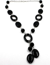 18k White Gold Necklace, Onyx Black, Round and Oval Pendant, Chain Rolo image 1