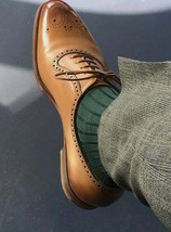 Handmade Men Tan Brown Heart Medallion Lace up Dress/Formal Leather Oxford Shoes image 1