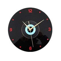 Panda Superstore Retro Black Plastic CD Wall Clock Fashion Home Decoration(12'')