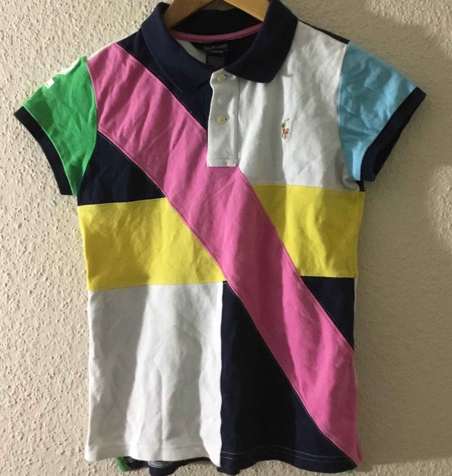 Ralph Lauren Girl's Multi-Color Block #2 Polo S/S Shirt L(12--14)