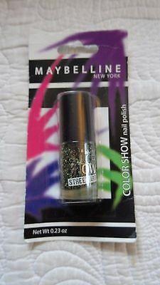 MAYBELLINE Color Show nail polish Street Art To Coat  .23 oz Black White NEW