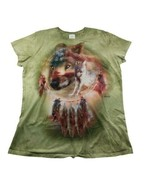 Wolf Dream Catcher Flag Green The Mountain XL Tee Womans Feathers 2012 - $24.99