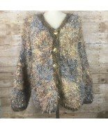 Innovative Knitwear Womens Cardigan Blue Gold Button Front Shaggy Sweate... - $27.69