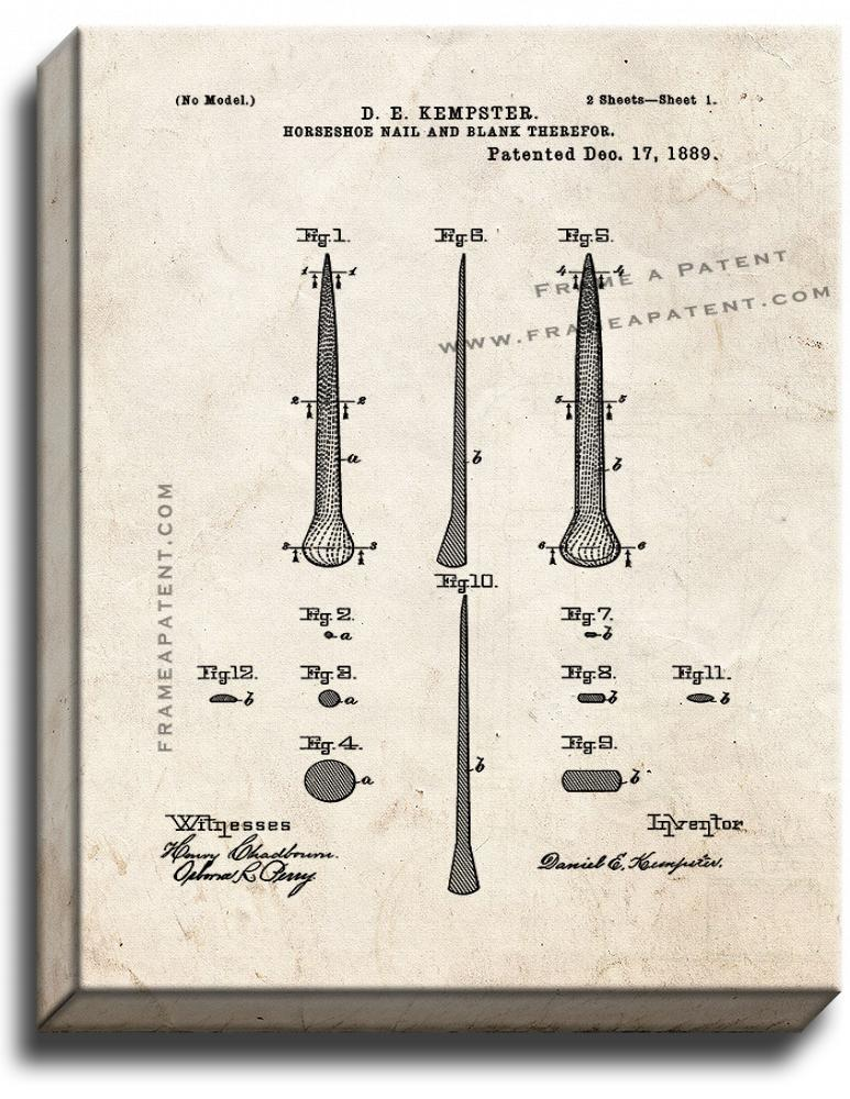 Primary image for Horseshoe Nail Patent Print Old Look on Canvas