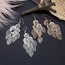 Hollow Leaves Chandelier Earrings, Silver set only - $9.76