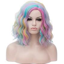"COOLSKY 15.75"" Women Short Wavy Curly Bob Wig 40cm Cosplay (Rainbow-1#) - $31.50"