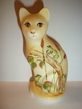 Fenton Glass Frogs & Cattails Stylized Cat Figurine Ltd Ed GSE M. Kibbe ... - $222.62