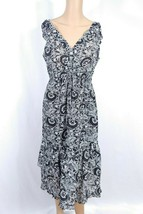 Michael Kors Floral Empire A-line Sundress SZ 4 Black White Ruffle Prair... - €8,46 EUR