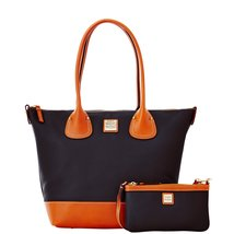 Dooney & Bourke Black Pebble Leather Zip Top La... - $318.50