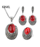 Val red jewelry sets for women ancient silver color retro necklaces rings and earrings thumbtall