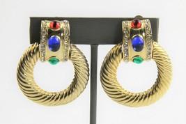ESTATE VINTAGE Jewelry MOGUL CABOCHON RHINESTONE DOOR KNOCKER CLIP EARRINGS - $50.00