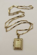 Vintage style Liz Claiborne locket necklace crackle faux MOP charm opens - $22.76
