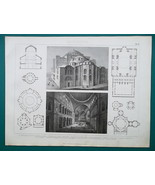 ARCHITECTURE San Vitale Ravenna Aachen Cathedral Venice - 1870 Engraving... - $16.20