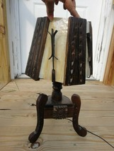 antique WOOD & IRON ARTS and CRAFTS TABLE  LAMP w/SLAG GLASS LAMP SHADE ... - $295.00