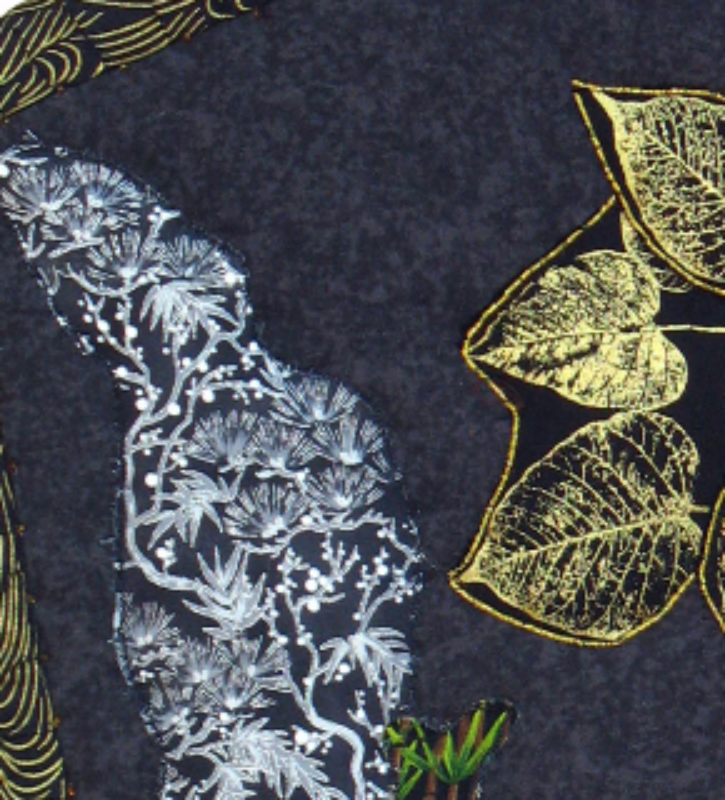 Golden Tree at Night: Quilted Art Wall Hanging