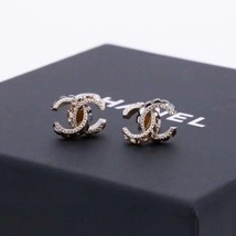 AUTHENTIC CHANEL AMBER 2-TONE CC LOGO STUD EARRINGS MINT image 1