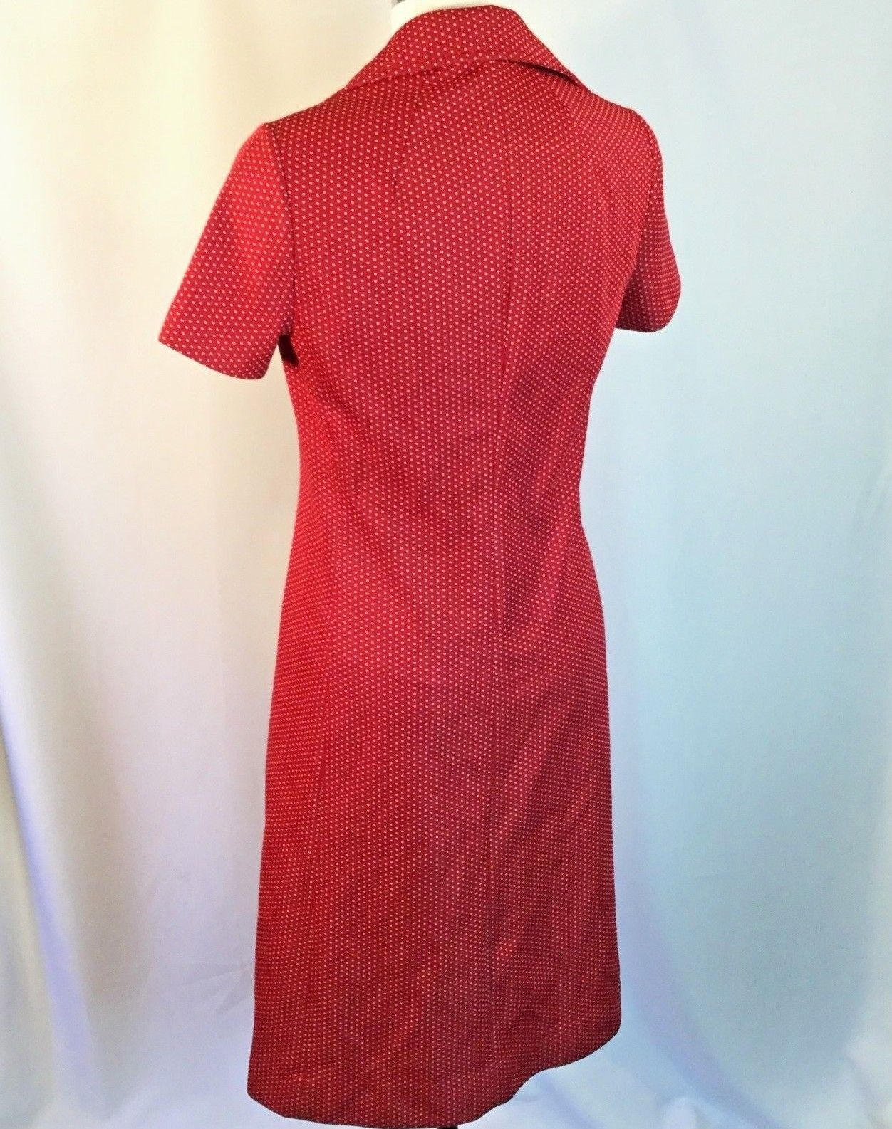 Vtg Red Polyester White Polka Dot Wide Collar Shirt Dress Button Front S