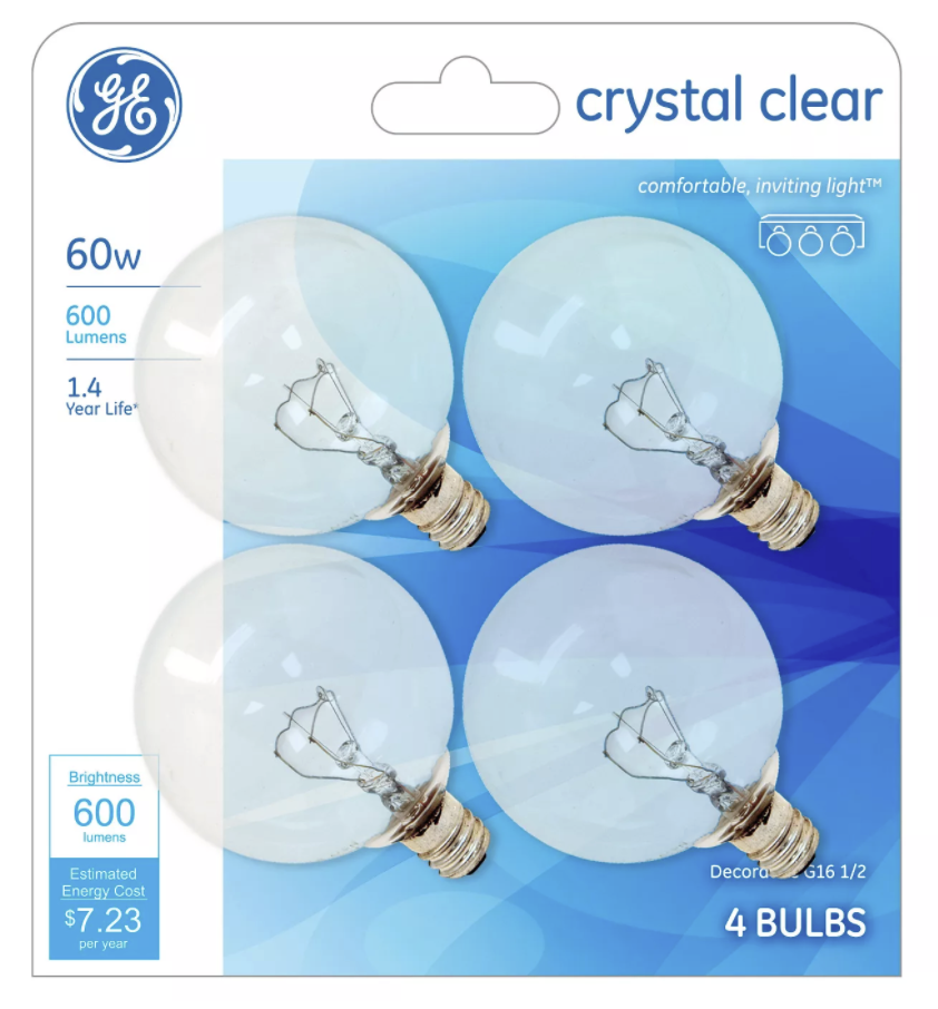 General Electric 60W 4pk G16 Incandescent Light Bulb Crystal Clear NEW