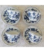 Vintage Blue Danube Blue Onion Demi Demitassee Cups Saucers Banner Set of 4 - $29.99