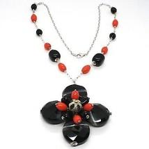Halskette Silber 925, Achat Disco Facettiert, Onyx, Koralle, Blume Anhänger - $142.22