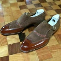 Handmade Men's Brown Leather & Suede Wing Tip Heart Medallion Monk Strap Shoes image 1