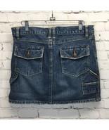 Old Navy Distressed Denim Carpenter Skirt Womans 6 Low Waist Frayed Vintage - $24.14