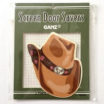 Ganz Screen Door Saver Western Cowgirl Hat Brown Floral Band 2pc Magnet Set New - $10.40